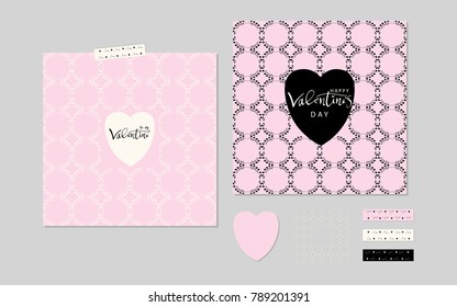 Lovely Valentine's day Elegant Set of Hand Drawn Greeting Cards and floral frame.  Cute trendy romantic background constructor for invitations, gift tag, anniversary, Valentine's days party, wedding