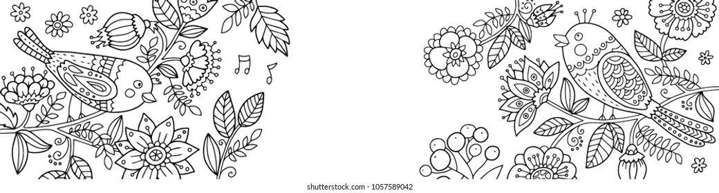 Lovely vector banner illustration with cute birds sitting on the brunches with flowers. Spring and summer outline illustration.