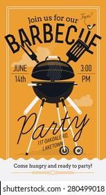 Lovely vector barbecue party invitation design template | Trendy BBQ cookout poster design with classic charcoal grill, fork, cooking paddle and sample text