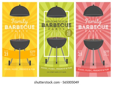 Lovely vector barbecue party invitation design template set. Trendy BBQ cookout poster design with classic charcoal grill, fork, cooking paddle and sample text.