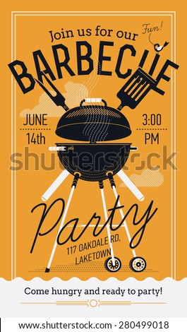 lovely vector barbecue party invitation design stock vector royalty