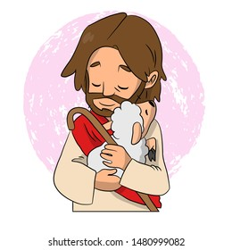 A lovely vector cartoon of Jesus holding a sheep to his chest with love representing how much he loves us.