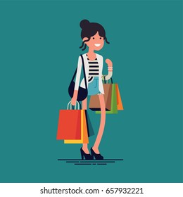 Lovely vector character design on shopping girl. Adult young woman shopper standing with  various paper bags