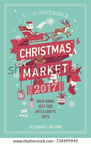 Lovely Vector Christmas Market Poster Template Stock Vector Royalty