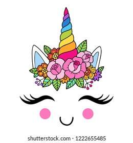 Lovely vector drawing of the unicorn horn with mane. Rainbow colors, illustration with outline. Perfect for photo booth prop for a party.