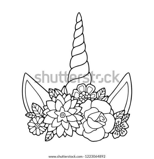 Lovely Vector Drawing Unicorn Horn