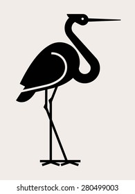 Lovely vector flat design geometric long legged stork bird black silhouette. Ideal for stickers, decals or stencil art