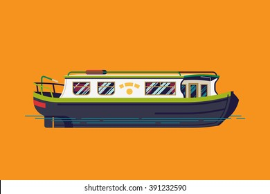 Lovely vector flat design narrowboat. Narrow canals boat water transport transport illustration. River barge based leisure and recreation cruising transport narrow boat. River houseboat