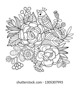 Lovely vector illustration of the bird with flowers and florals. Black outline drawing perfect for coloring page or book for children or adults.