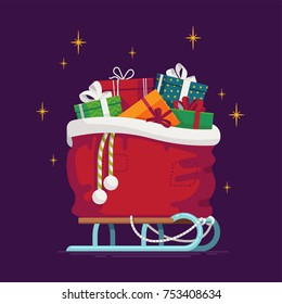 Lovely vector illustration on Christmas Santa's gift sack full of gift boxes and present packages standing on classic snow sleds