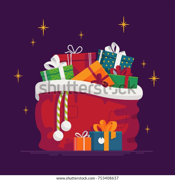 Lovely vector illustration on Christmas Santa's gift sack full of gift boxes and present packages