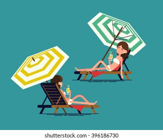 Lovely vector illustration on summer vacation beach resort adult girl enjoying sun on sunlounger or deckchair with parasol umbrella. Woman lying on deckchair with cocktail, front, rear view, isolated