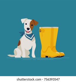Lovely vector illustration on terrier dog ready for a walk wearing blue bandana or neckerchief sitting next to yellow rubber boots. Cute white coated with brown markings Jack Russell