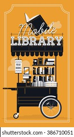 Lovely vector Mobile Library cart vintage background. Portable book stand on wheels with stacked books, awning and sign. Book market decorative item