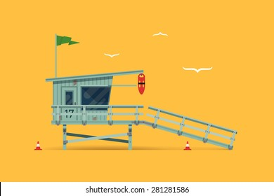 Lovely vector modern flat design illustration on detailed lifeguard tower on the beach, side view