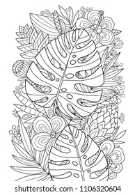 Lovely vector monstera tropical coloring page for kids and adults. Doodle zen illustration in outlines.