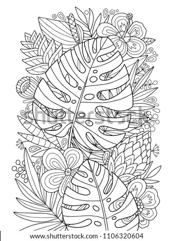 lovely vector monstera tropical coloring page stock vector royalty