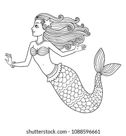 Lovely vector outline illustration of the pretty mermaid. Perfect for coloring book or page for kids and adults.
