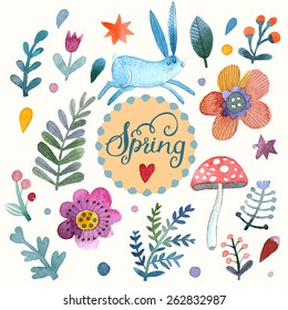 Lovely vector set with sweet rabbit, flowers, leafs and mushroom in awesome colors. Stunning spring theme card made in watercolor technique. Bright concept card with text in vector