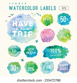 lovely vector set of watercolor shopping icons in eps