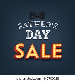 Lovely vector special offer card or banner template for 'Father's Day Sale' featuring bow tie and lit up marquee 3D letters