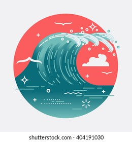 Lovely vector web icon on large ocean breaking wave. Sea water round symbol in flat design with abstract wave and seagulls. Storm wave. Surf wave breaking circle shaped sign