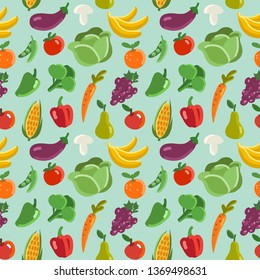 Lovely vegetables and fruits vector seamless pattern