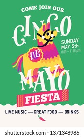 Lovely vertical poster for Cinco de Mayo Party event. Quality vector flyer template for Mexican traditional holiday Fifth of May with lettering and pinata donkey illustration