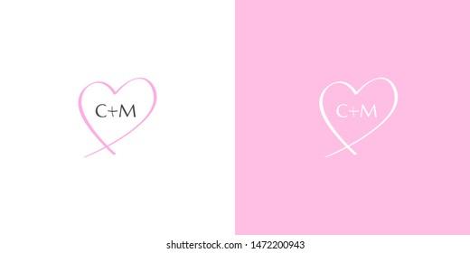 Lovely wedding C plus M monogram in a hand-drawn heart shape. CM initials feminine logo. Elegant simple white vector logo on pink background