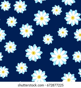 Lovely white daisies on a dark blue background. Abstract seamless pattern with chamomile flowers.Summer floral vector illustration. Template for fashion prints, textile,fabric, wrapping gift paper.