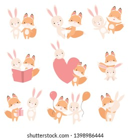 Lovely White Little Bunny and Fox Cub Having Fun Together Set, Cute Best Friends, Adorable Rabbit and Pup Cartoon Characters Vector Illustration