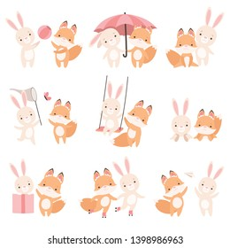 Lovely White Little Bunny and Fox Cub Playing Together Set, Cute Best Friends, Adorable Rabbit and Pup Cartoon Characters Vector Illustration