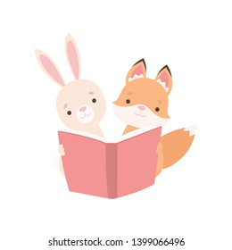Lovely White Little Bunny and Fox Cub Reading Book, Cute Best Friends, Adorable Rabbit and Pup Cartoon Characters Vector Illustration