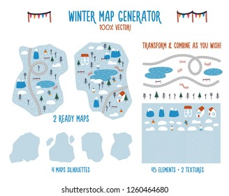 Lovely winter landscape generator. Contains people, trees, houses, mountains, roads all covered with snow. Combine elements to create a map of your choice. Two ready made maps available for you.