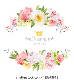 Lovely wishes floral vector design frame. Wild rose, peony, orchid, hydrangea, pink and yellow flowers. Horizontal banner stripe elements.