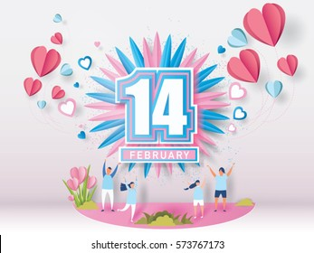 lovely young joyful couple celebrate for valentine's day festival on abstract background with text 14 february and mini heart and balloons heart Vector illustration.paper craft style.
