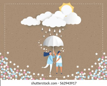 lovely young joyful couple holding umbrella on abstract background with raining and love heart,clouds,sun,paper craft style .Vector illustration.
