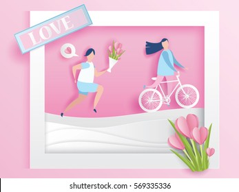 lovely young joyful couple ride bicycle and run in window abstract pink background with text love and mini heart design for valentine's day festival .Vector illustration.paper craft style.