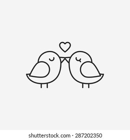 lover birds line icon