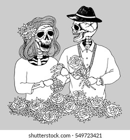 lover couple sugar skull day of the dead, vector hand drawn design illustration