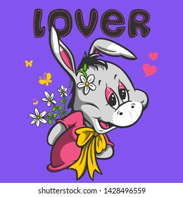 lover cute donkey with flowers character design vector illustration icon card poster wallpaper baby shower home textile linens pajama tee shirt graphic print