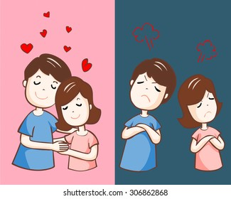 lover hate and love each other vector illustration