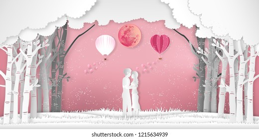 The Lover with heart hot air balloons in winter season and snow on pink nature background as Paper art , cut and digital craft style concept. vector illustration