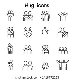 Lover, hug, friendship, relationship icon set in thin line style