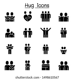 Lover, hug, friendship, relationship icon set vector illustration graphic design