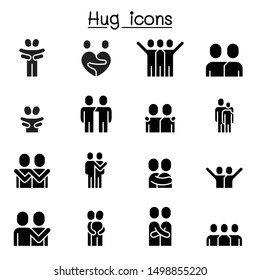 Lover, hug, friendship, relationship icon set vector illustration graphic design