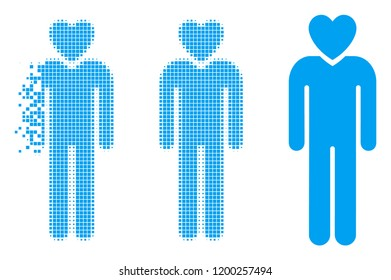 Lover man icon in disappearing, pixelated halftone and undamaged whole variants. Fragments are combined into vector disappearing lover man symbol. Disappearing effect involves rectangle pixels.