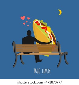 Lover taco. Mexican food and people are looking at moon. Date night. Man and meal sitting on bench. Month in dark sky. Romantic illustration feed