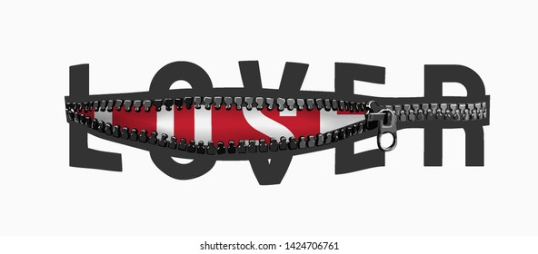 lover/loser typography slogan in zipper illustration