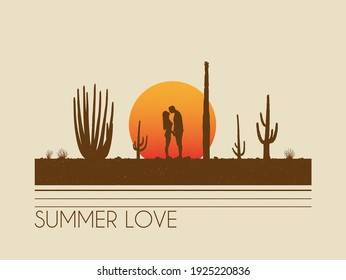 Lovers between cactuses. Kissing couple silhouette. Romantic date